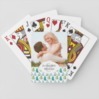 Add Your Name | Sailboats On The Water Pattern Playing Cards