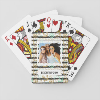 Add Your Name | Sea Anchor Pattern Playing Cards