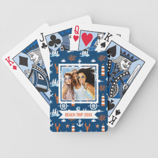 Add Your Name | Sea Theme Pattern Bicycle Playing Cards
