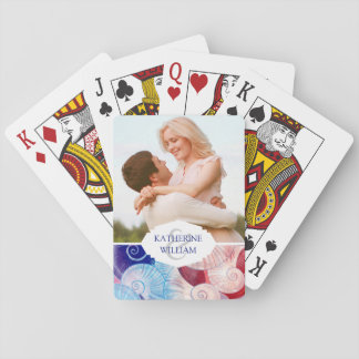 Add Your Name | Seashell Scene Pattern Playing Cards