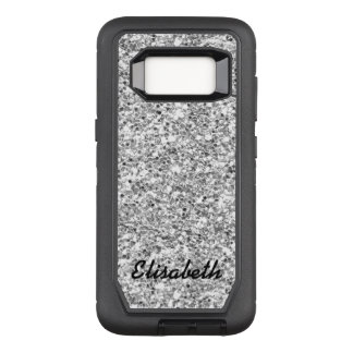 Add your name SILVER GLITTER  printed personalized OtterBox Defender Samsung Galaxy S8 Case