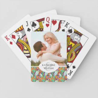 Add Your Name | Strelitzia Pattern Playing Cards
