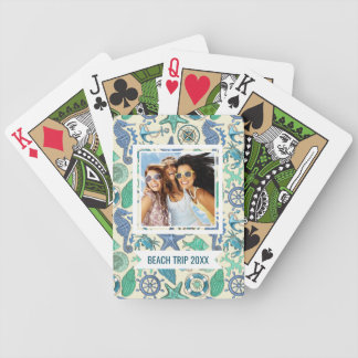 Add Your Name | Teal Sea Animals Pattern Bicycle Playing Cards