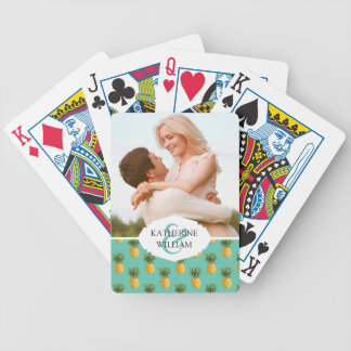 Add Your Name | Tropical Pineapples On Teal Bicycle Playing Cards