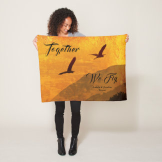 Add your name | Two birds fly together Fleece Blanket