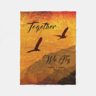 Add your name | two birds | Together we fly! Fleece Blanket