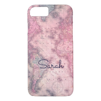 Add your name - Vintage pink map iphone 7 case