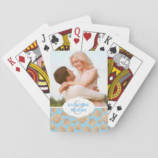 Add Your Name | Vintage Style Seashell Pattern Playing Cards