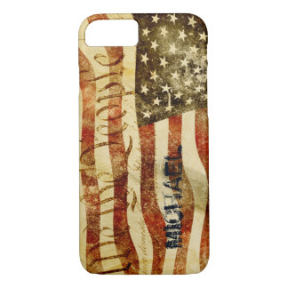 Add your name - Vintage USA flag iphone 7 case