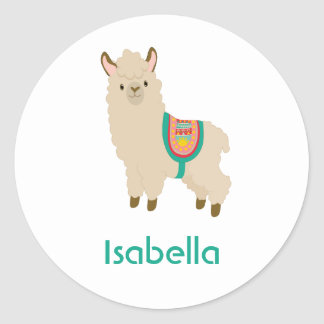 Add your name watercolor llama custom names classic round sticker
