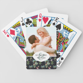 Add Your Name | Watercolor Palm Pattern Bicycle Playing Cards