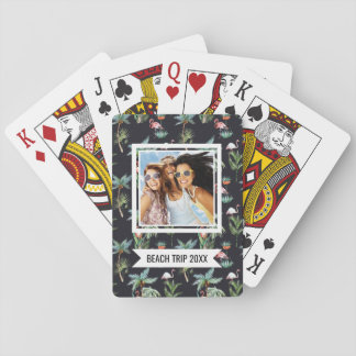 Add Your Name | Watercolor Palm Pattern Playing Cards