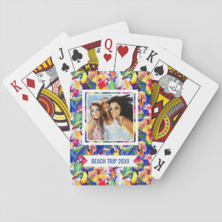 Add Your Name   Watercolor Parrots Playing Cards