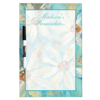 Add Your Name   White Daisies on Blue Dry Erase Board
