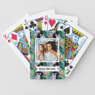 Add Your Name | Zebra And Exotic Flowers Pattern Bicycle Playing Cards