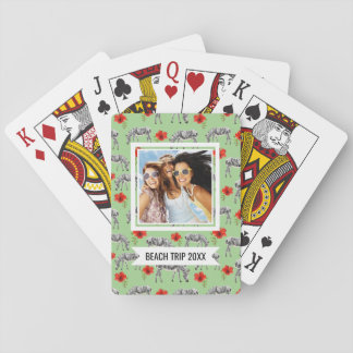 Add Your Name | Zebras Among Hibiscus Flowers Poker Deck