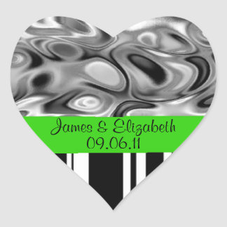 Add Your Names and Date Green Marriage Stickers
