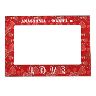 Add your names on ruby red grey hearts pattern magnetic picture frame
