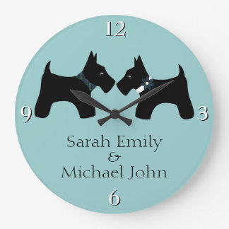 Add Your Names: Romantic Scottie Dogs Large Clock