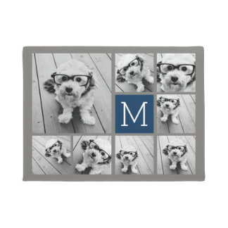 Add Your Own 8 Photo Collage -- CAN edit COLOR Doormat
