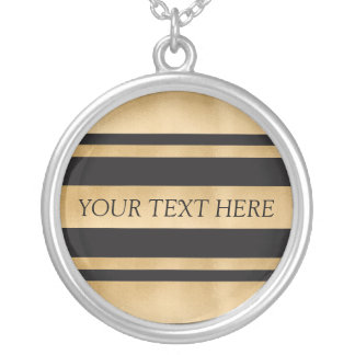 Add your own custom text, faux gold foil stripes silver plated necklace