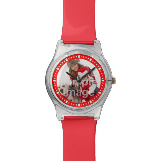 Add Your Own Family Photo Elegant Red Wristwatches