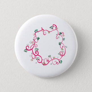 Add Your Own Name or Message Floral Pink Design 6 Cm Round Badge