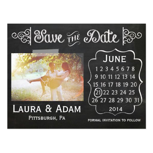 Add Your Own Photo Chalkboard Save the Date Postcard