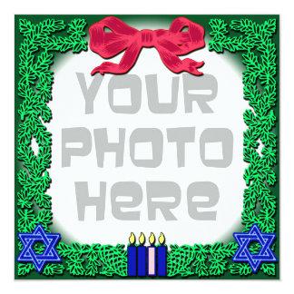 "Add Your Own Photo Christmas / Hanukkah Card 5.25"" Square Invitation Card"