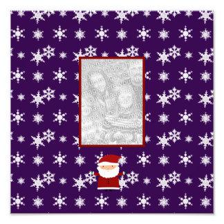 Add your own photo santa purple snowflakes