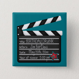 Add Your Own Words Movie Director Clapboard 15 Cm Square Badge