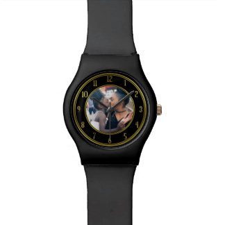 Add Your Personalized Photo | Gold Black Elegant Watch