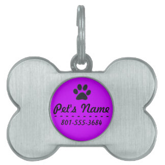 Add Your Pet's Name and Phone, Purple & Paw Print Pet ID Tag