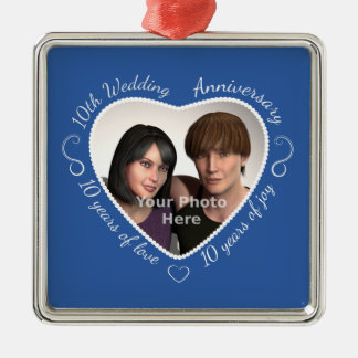 Add Your Photo 10 Years of Marriage Silver-Colored Square Decoration