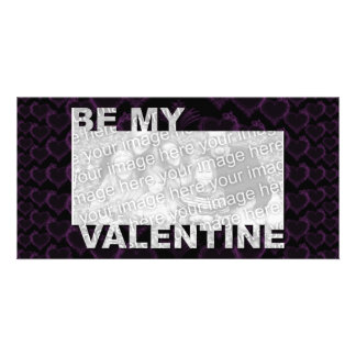 ADD Your Photo Be My Valentine Frame - Goth Hearts Personalized Photo Card