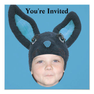 "Add Your Photo Blue Bunny Ears 5.25"" Square Invitation Card"