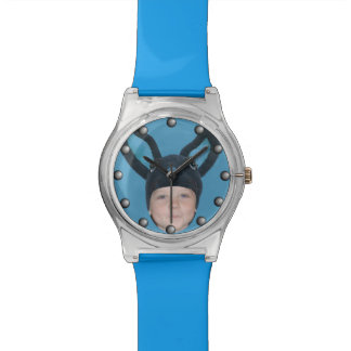 Add Your Photo Blue Bunny Ears Watches