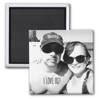 Add your Photo Cute Black and White Couple Picture Magnet
