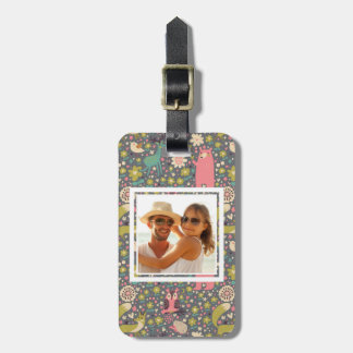 Add Your Photo | Cute Forest Animals Pattern Luggage Tag