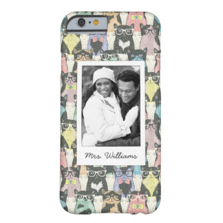 Add Your Photo | Cute Hipster Cats Pattern Barely There iPhone 6 Case