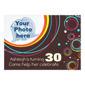 Add your photo funky 30th birthday invite