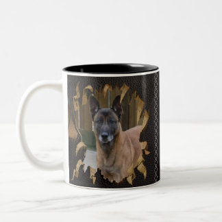 Add your Photo Malinois - Belgian shepherd - Two-Tone Coffee Mug