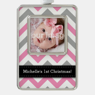 Add your photo + Name - Pink and Gray Chevron Silver Plated Framed Ornament