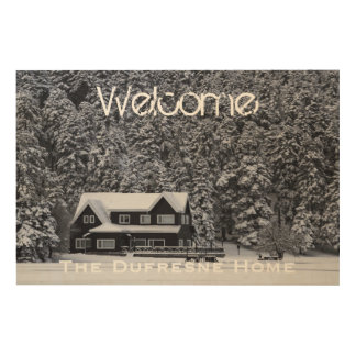 Add Your Photo & Name Rustic Welcome Sign Wood Canvas