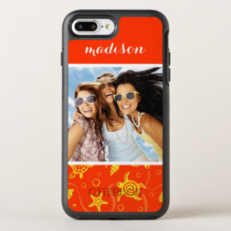 Add Your Photo | Orange Beach Pattern OtterBox Symmetry iPhone 8 Plus/7 Plus Case