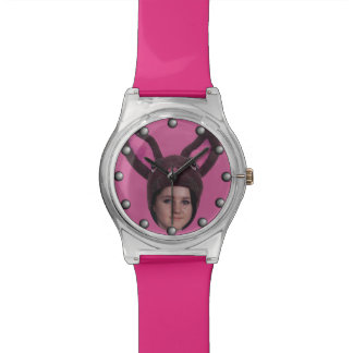 Add Your Photo Pink Bunny Ears Watch