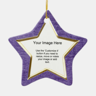 Add Your Photo - Purple Chenille Star Template Ceramic Ornament