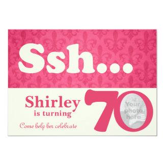 Add your photo ssh surprise 70th birthday invite