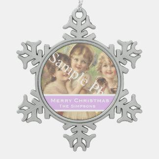 Add your photo, text. Seasons greetings, Christmas Snowflake Pewter Christmas Ornament