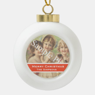 Add your photo, text. Seasons greetings, Christmas Ceramic Ball Christmas Ornament